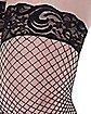 Plus Size Lace Diamond Net Thigh High Stockings