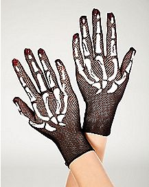 Black Fishnet Skeleton Gloves