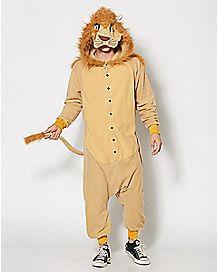 Adult Hooded Lion Pajama Costume