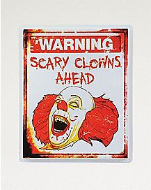 19 Inch Scary Clown Warning Sign  - Decorations