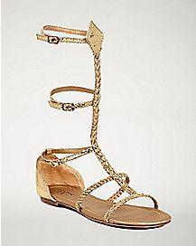 Gold Braid Rope Sandals
