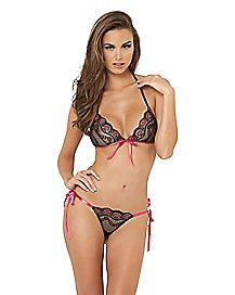 Lace Tie Up Bra and Thong Panties Set