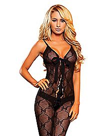 Lace Up Crotchless Bodystocking - Hustler