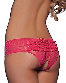 Ruffle Back Lace Crotchless Boyshort Panties - Pink