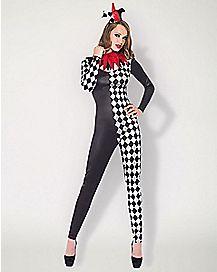 Adult Harlequin Jester Catsuit Costume