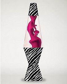 Zebra Print & Hot Pink Lava Lamp - 14.5 Inch