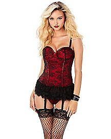Victorian Lace Bustier and Thong Panties Set - Red