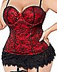 Plus Size Victorian Lace Bustier and Thong Panties Set - Red