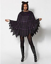 Spiderweb Black and Purple Poncho