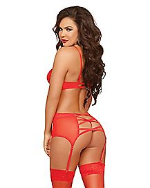 Double Dare Bustier and Thong Panties Set - Red