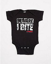 Beware I Bite Baby Bodysuit