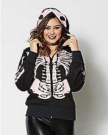 Skeleton Hoodie Black And Pink