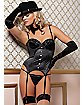 Pinstripe and Lace Bustier and Thong Set