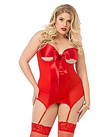 Plus Size All Wrapped Up Lace Corset and Thong Panties Set