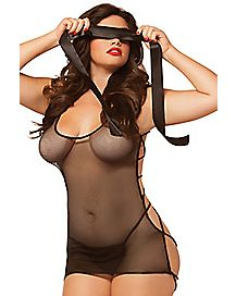 Plus Size Why Knot? Fishnet Chemise and Thong Panties Set