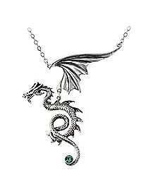 Alchemy Pewter Dragon with Green Crystal Necklace