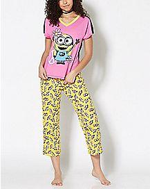 Peace Love Kevin Minion Despicable Me Pajama Shirt
