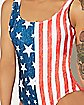 Distressed USA Flag One Piece Swimsuit
