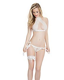 Lace Halter Bra and Panties Set - White