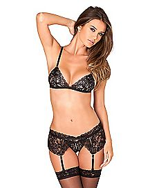 Lace Bra and Crotchless G-String Panties Set