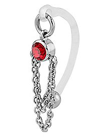 Red Gem Chain Bioflex Clit Ring- 14 Gauge