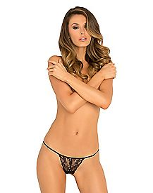 Floral Lace Crotchless Thong Panties