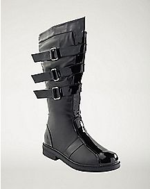 Black Walker Boots With Patent Leather Detail