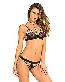 Harness Lace Bra and Panties Set - Black