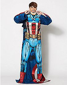 Captain America Fleece Blanket with Sleeves - Marvel Comics