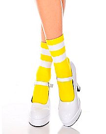Yellow Striped Ankle Socks