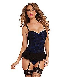 Victorian Lace Bustier and Thong Panties Set - Blue