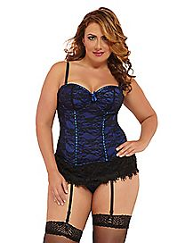 Plus Size Victorian Lace Bustier and Thong Panties Set - Blue