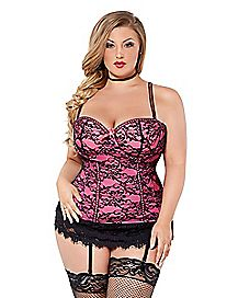 Plus Size Victorian Lace Bustier and Thong Panties Set - Hot Pink