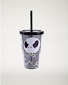 Glowing Jack Skellington Cup With Straw - 16 oz. Nightmare Before Christmas