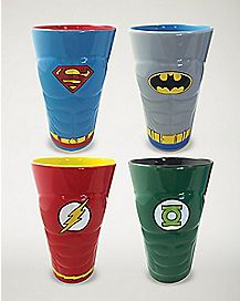Superhero Pint Glass 4 Pack 16 oz. - DC Comics