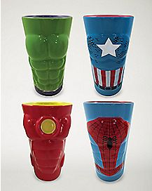 Marvel Heroes Molded Pint Glass 16 oz. 4 Pack - Marvel Comics