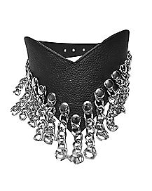 Waterfall Leather Collar With Chains