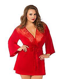 Plus Size Red Lace Kimono Robe