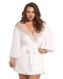 Plus Size White Lace Kimono Robe