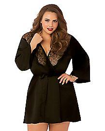 Plus Size Black Lace Kimono Robe