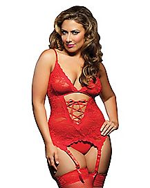 Plus Size Midnight Affair Bustier and Thong Panties Set - Red
