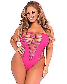 Plus Size Seamless Cutout Bodysuit - Pink