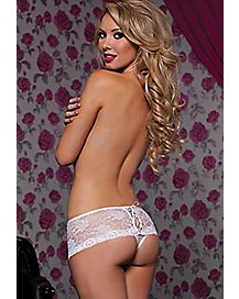 Laceup Crotchless Boyshort Panties- White