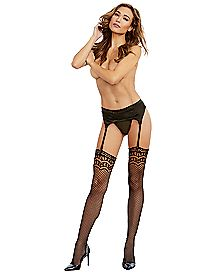 Lace Fishnet Thigh Highs