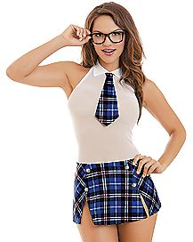 Blue School Girl Tease Chemise