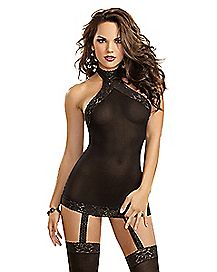 Lace Trim Sheer Dress with Thigh High Stockings