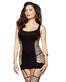 Plus Size Net Garter Dress with Thigh High Stockings