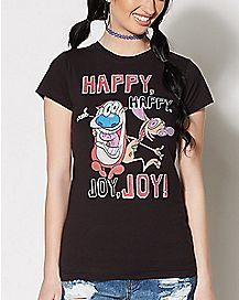 Happy Happy Joy Joy Ren and Stimpy T Shirt - Nickelodeon
