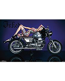Tattooed Girl on Motorcyle Poster - Inked