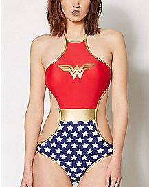 High Neck Wonder Woman Monokini Swimsuit - DC Comics